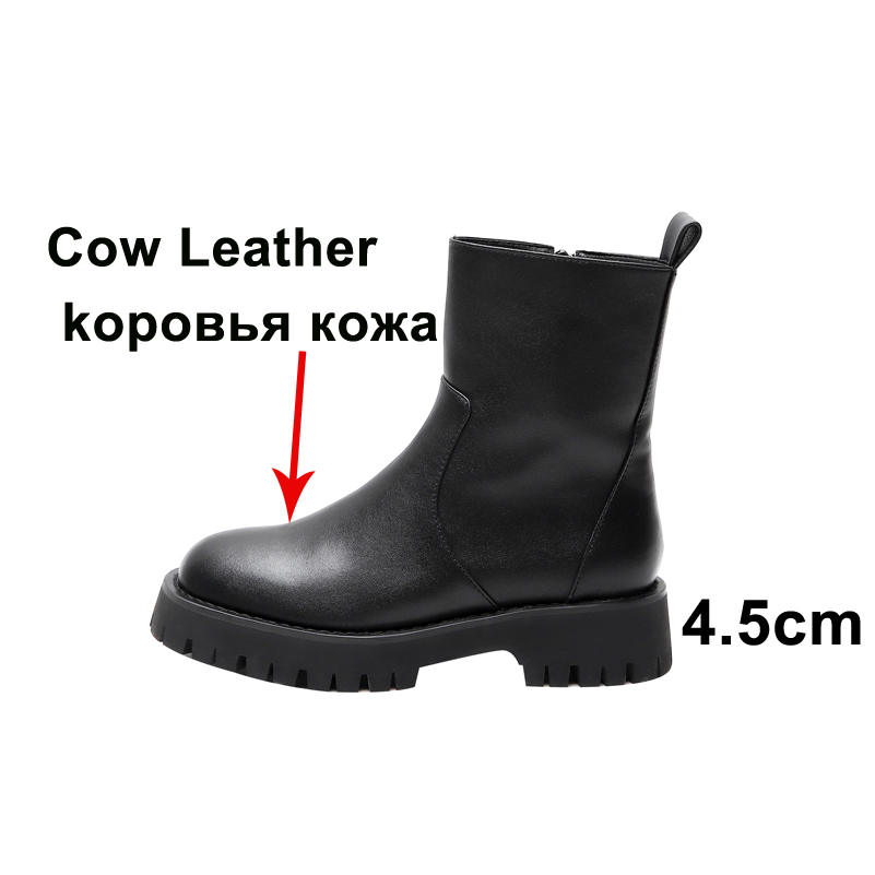 Meotina Short Boots Women Shoes Genuine Leather Platform Mid Heel Ankle Boots Chunky Heels Zipper Female Boots Autumn Winter 40