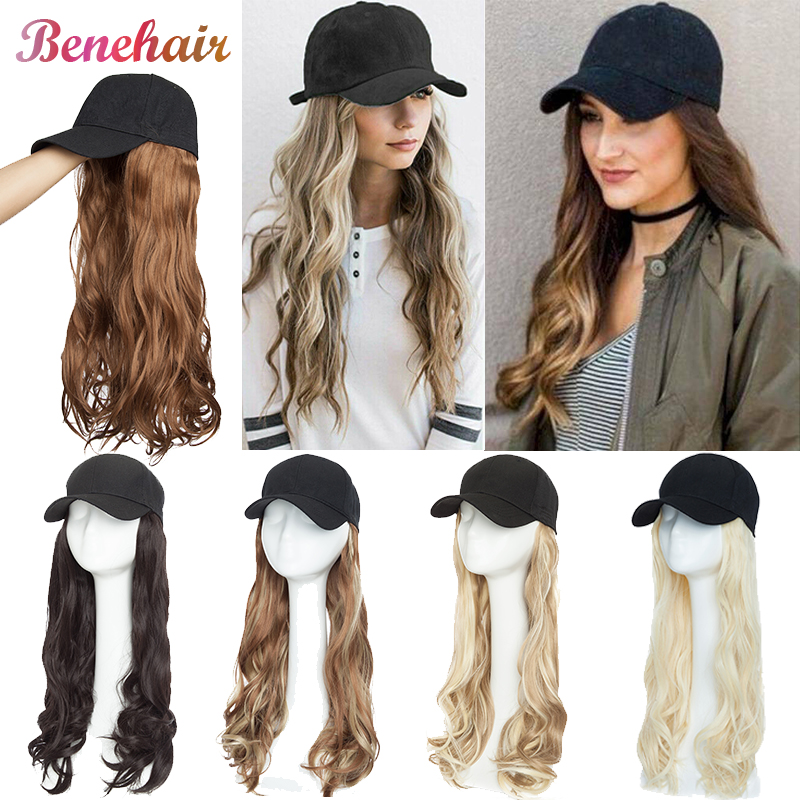 BENEHAIR Baseball Cap With Hair Long Wavy Fake Hair Hat Wig Synthetic Hair Extensions Hat With Hair Natural Hairpiece For Women