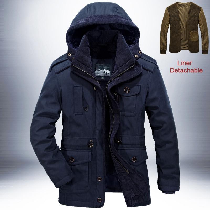Брендовая зимняя куртка, Мужская Толстая теплая ветровка, мужские парки, высокое качество, кашемировая подкладка, съемная, 2 в 1, пальто размера плюс L 4XL - 3