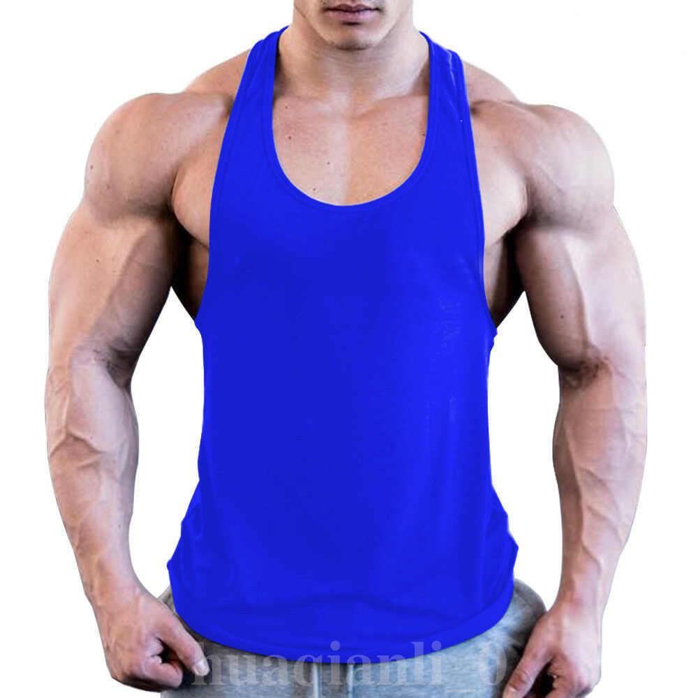 Mannen Gym Spier Mouwloos Shirt Tank Top Bodybuilding Sport Fitness Workout Vest Zomer Mannen Vest Effen Kleur Mannen Tops