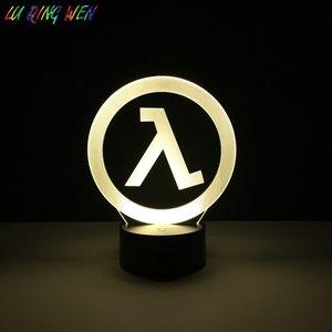 Image 2 - Dziecko Led nightlight Half Life Logo lampka nocna dla chłopców sypialnia oświetlenie dekoracyjne dla dzieci najlepszy prezent urodzinowy Led lampka nocna Dropship