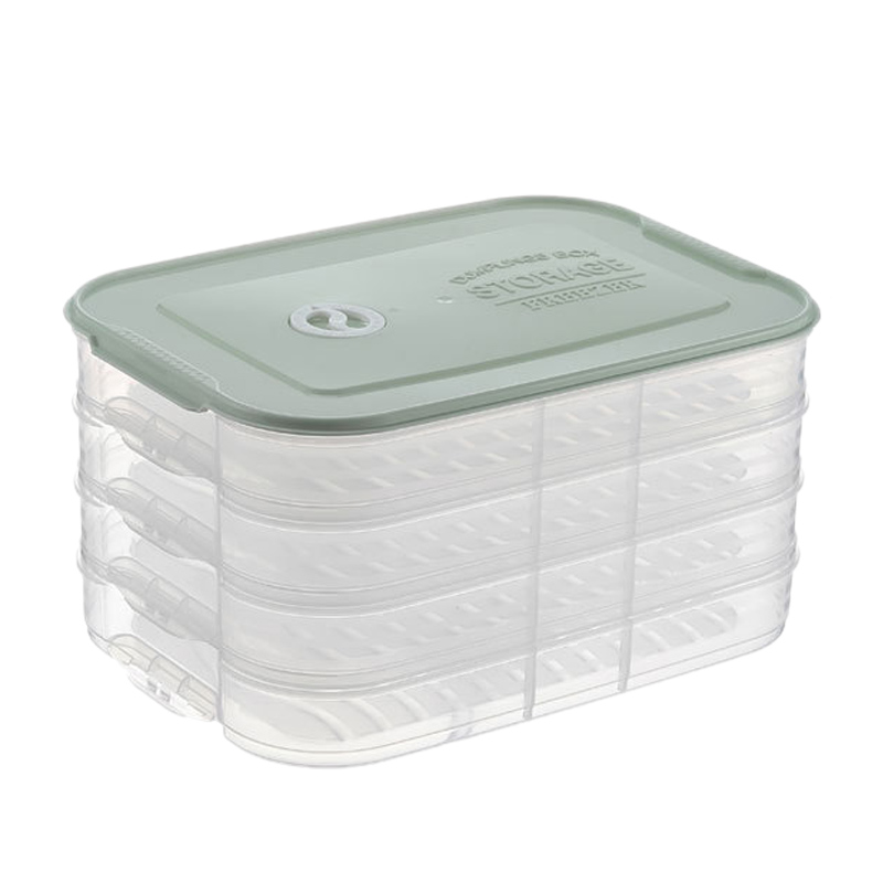 BEAU-4 Layer Plastic Dumpling Storage Box Refrigerator Freeze Dumpling Tray Household Food Crisper Storage Container