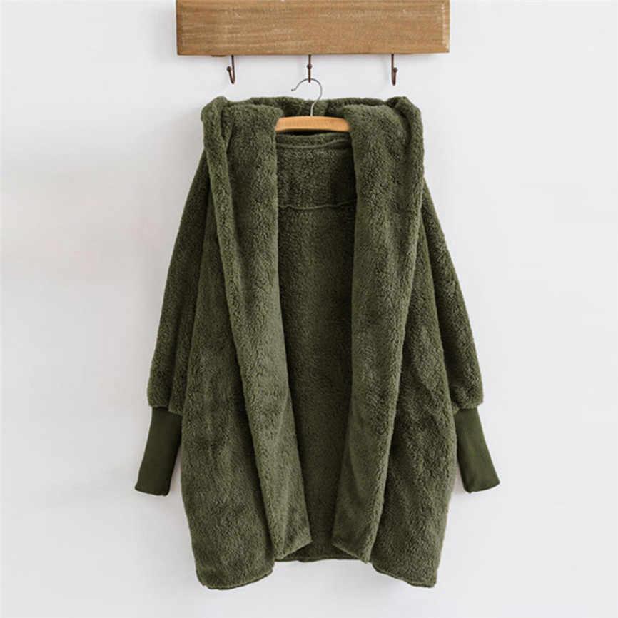 Abrigo cálido con capucha de Invierno para mujer abrigo de piel sintética de talla grande para otoño e invierno abrigo femenino de moda con botones de Color sólido 40