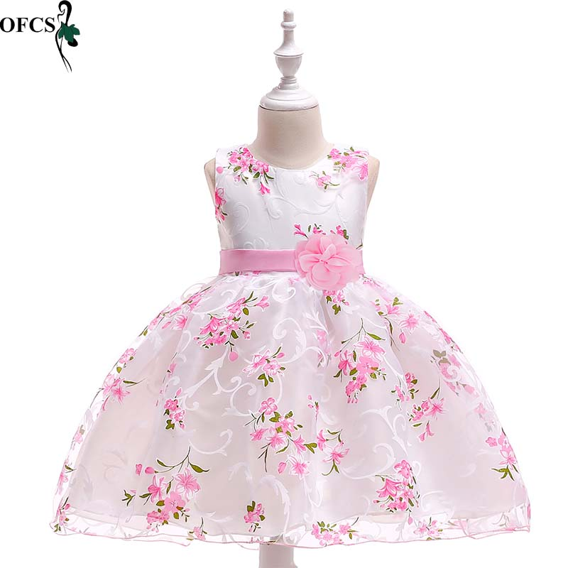 <font><b>For</b></font> 3 To <font><b>15</b></font> <font><b>Years</b></font> <font><b>Old</b></font> Kids Clothes <font><b>Girl</b></font> Princess <font><b>Dress</b></font> Flower Printed Sleeveless Tulle <font><b>Dresses</b></font> Flower <font><b>Girl</b></font> Formally Costumes image
