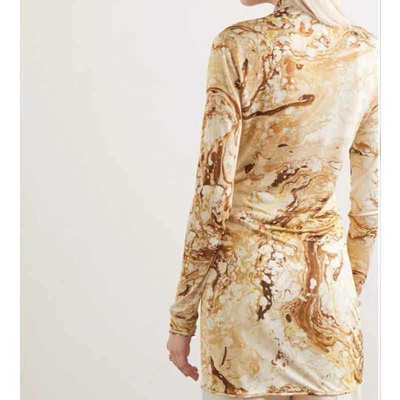 Cosmicchic 2020 ผู้หญิงแขนยาวโปร่งใสตาข่ายเสื้อคอเต่าMarbling Retro Pulloverบางผ้าไหม 100% Slim