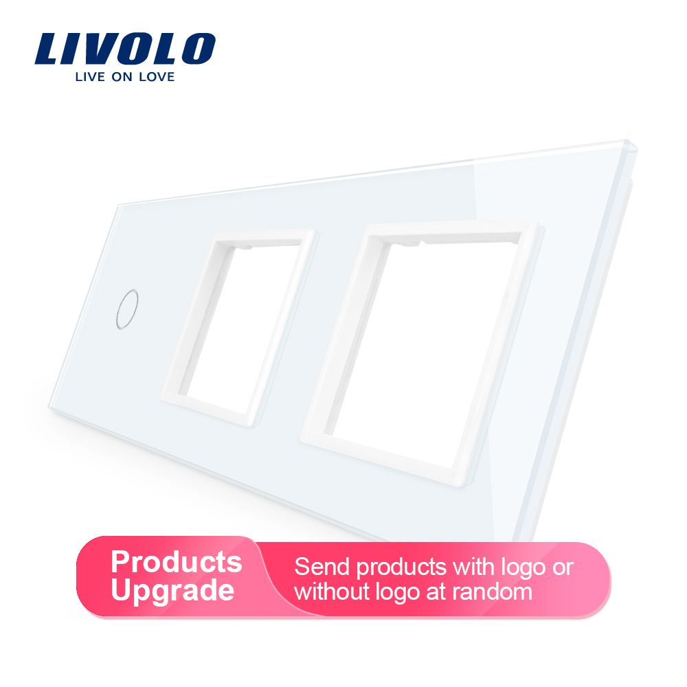 Livolo DIY Luxury Pearl Crystal Glass,EU Standard, Triple Glass Panel,4 Colors,glass Panel ,diy By Yourself,mark Color You Want.