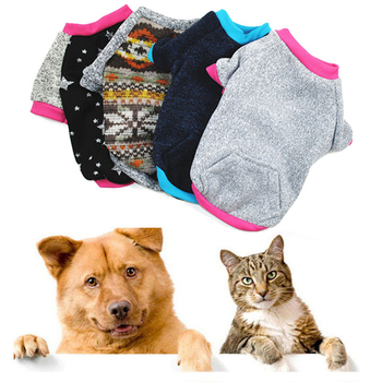 Solid Printed Dog Hoodies Short Sleeve O Neck Shirt Autumn Winter Comfortable Cat Sweater Outfit Outdoor Dog Clothes Wholesale image