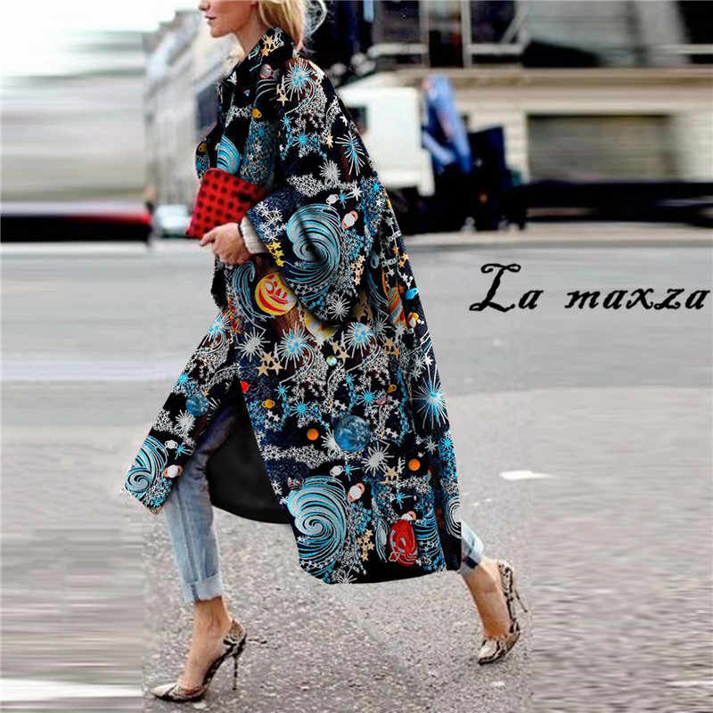 Kadın Moda Rahat Baskı Ceket Artı Boyutu Gevşek Zarif Giyim Uzun Palto 2019