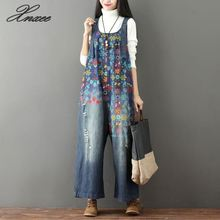 2019 Women Vintage Print Flower Jeans Jumpsuit Large Size Loose Cowboy Overalls Bib Female Casual Wide Leg Rompers  Xnxee