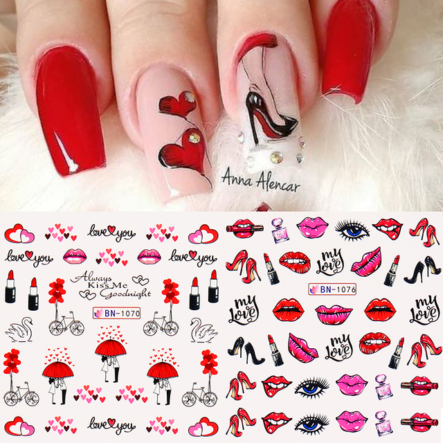 12pcs Alphabet Love Letter Stickers For Nails Valentines Day Flowers Heart Slider Decals Nails Art Decorations Foil Manicures
