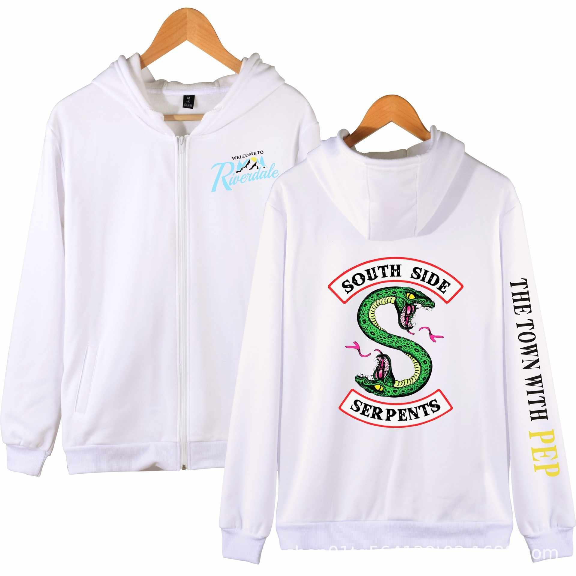 New Southside Riverdale Serpents Jacket Coats Fashion Zipper Hooded Sweatshirts Men Long Sleeve Hoodies Hip Hop Streetwear 4XL
