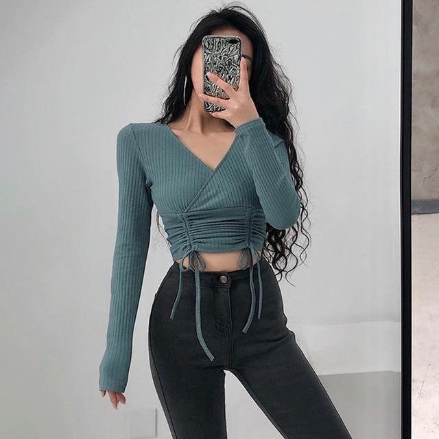 2021 Summer New Knitting Elasticity Sexy V-neck Long Sleeve Shirt Drawstring Tops Blouse Girl Female Womens V0QE