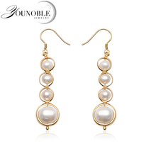 Real White Natural Long Pearl Earrings Women,925 Silver Earrings Handmade Jewelry Girl Wedding Best Gift