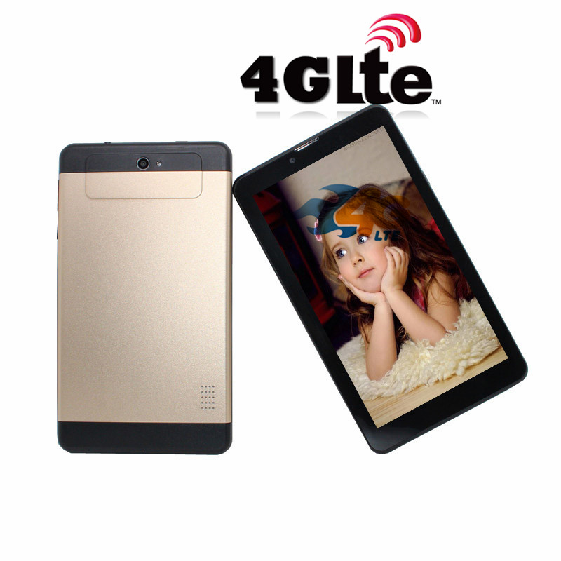 HD IPS Sreen 7inch 4Glte Phone Call MTK6735  TabletPC Quad Core Android 5.1 1GB+8GB  1024x 600 Gold Tablet