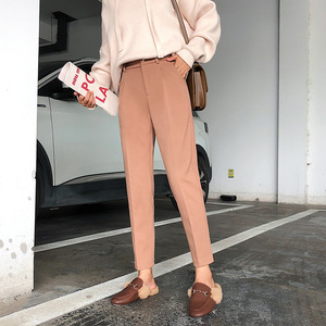 Image 4 - Winter Woolen Pants 2019 New Women Elastic Female Plus Size Casual Trousers Black/Gray/White/Brown Wool Ankle Length Harem Pants