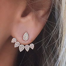 E0123 Korean Style Shiny Rhinestone Crystal Stud Earring Gold Color Water Design Earring Fashion Women Wedding Jewelry Wholesale leaf design earring set with rhinestone
