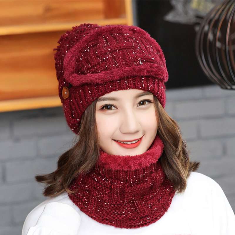 Sets 3 Variety Wearing Velvet Hats Women Warm Winter Thick Wool   Beanies   Hat Bib Mask Female Knit   Skullies   Ear Protector Caps