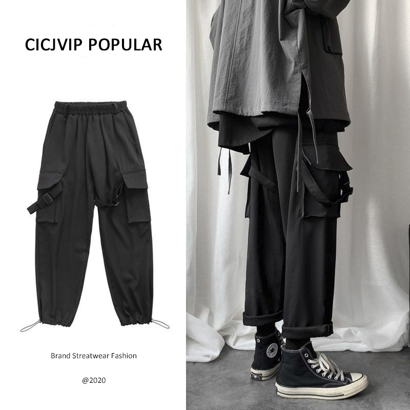 Cargo Pants Men Hip Hop Joggers Mens Cotton Streetwear Baggy Casual Ankle length Trousers Korean Style Popular Sport Black Gray