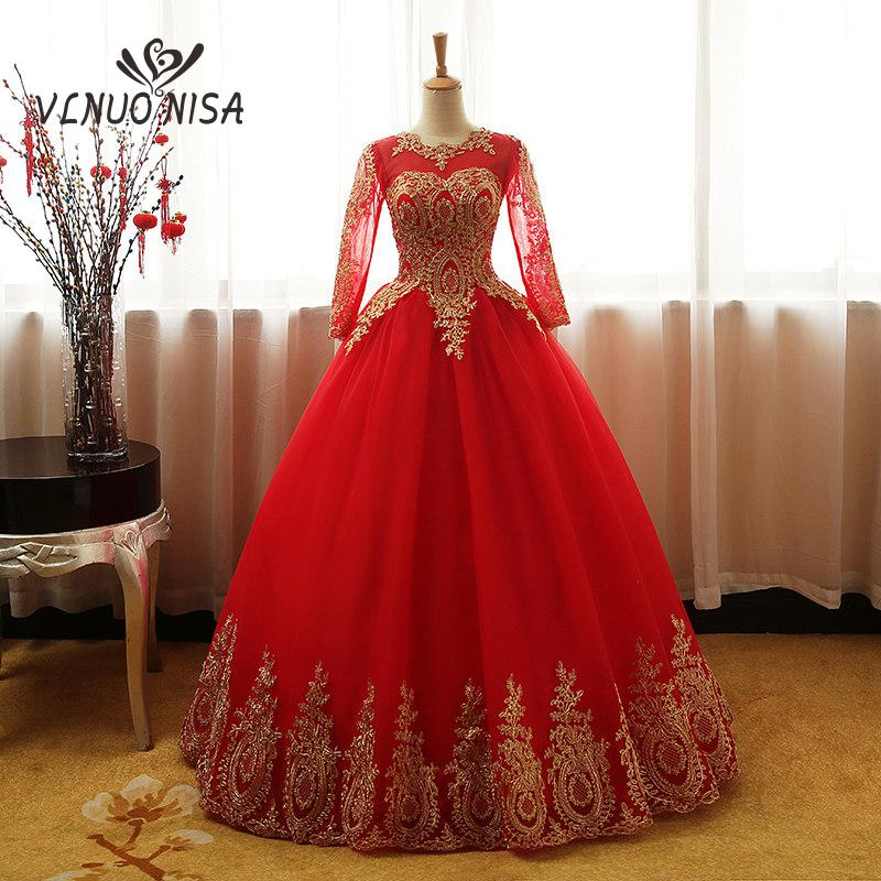 Fashion Vintage Sweet 2020 Free Shipping Lace Red Blue Black Wedding Dress Long Sleeve Plus Size Bridal Ball Gown Robe de Mariee