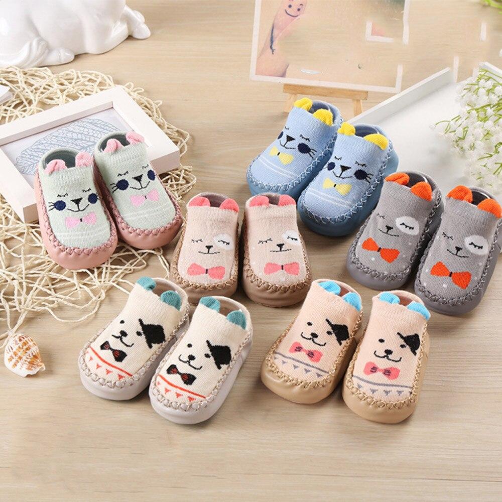 Newborn Baby Boys Girls Socks Infant Toddler Winter Shoes Socks Baby Cartoon Floor Anti Slip Warm Soft Socks For 0-15 Monthes