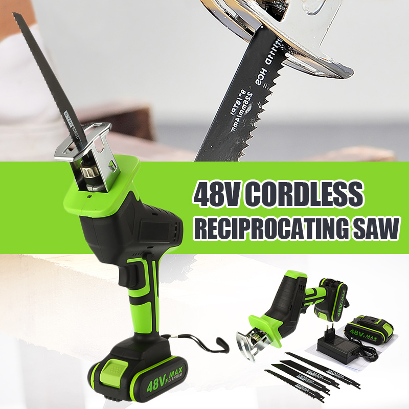 Portable 48V Cordless Reciprocating Saw Li-Ion Battery Electric Saber Saw Blade For Wood Metal Chain Saws Cutting Power Tool