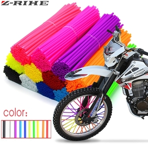 72Pcs Motorcycle Wheel Spoked Protector Wraps Rims Skin Trim Covers Pipe For Motocross Bicycle Bike Cool Accessories 11 Colors(China)