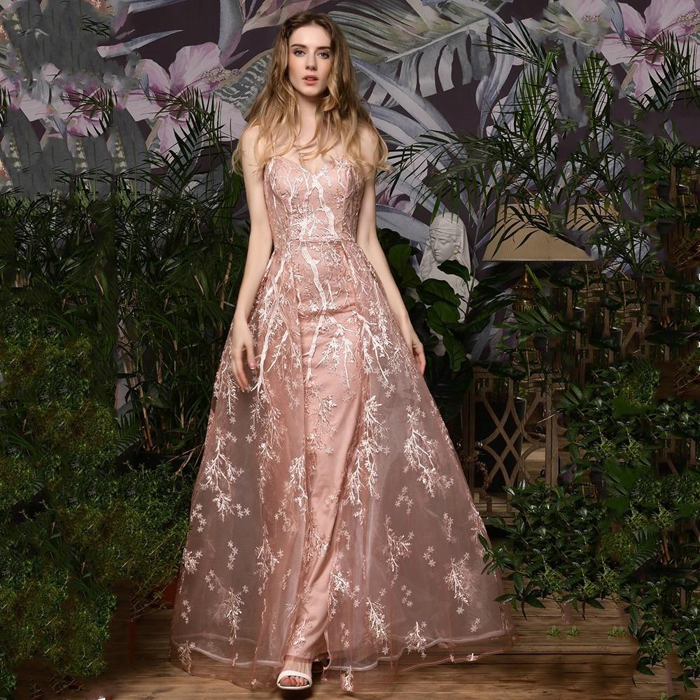 Pink Lace Flowers Evening Dresses A-line Vestido de Festa Female Fomal Evening Gowns Robe De Soiree Jurkjes платье