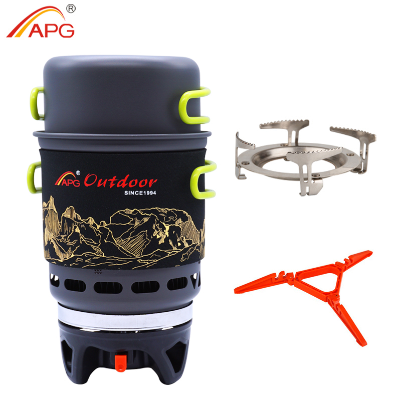 APG Camping Cookware Bowl Pot Pan Tableware Combination Gas Cooking System Outdoor Cooker Portable Gas Stove