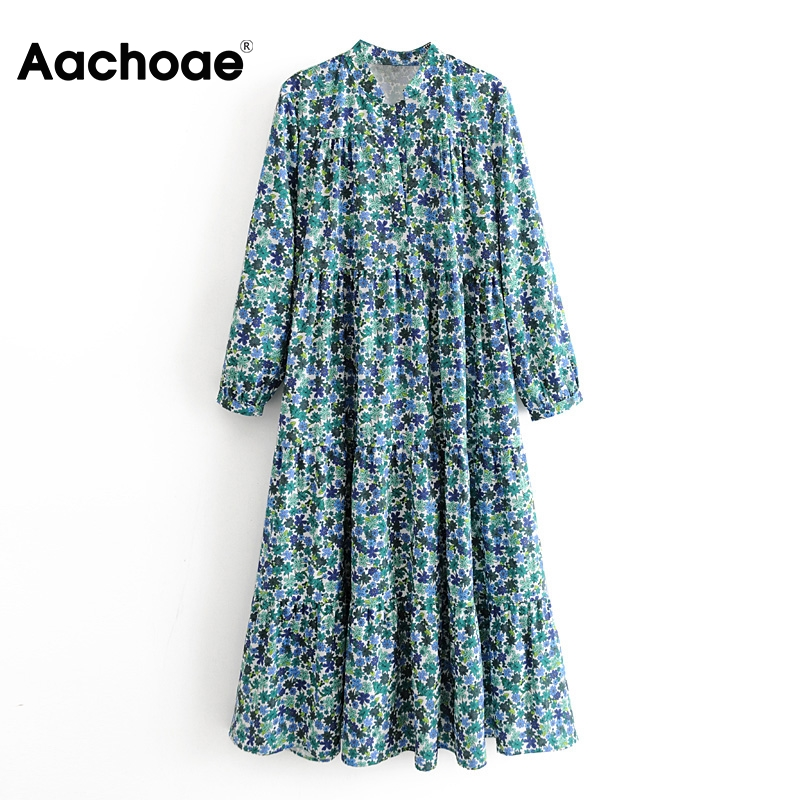 Aachoae 2020 Loose Floral Print Long Maxi Dress Stand Collar Vintage Pleated Dress Women Long Sleeve Plus Size Ladies Dresses