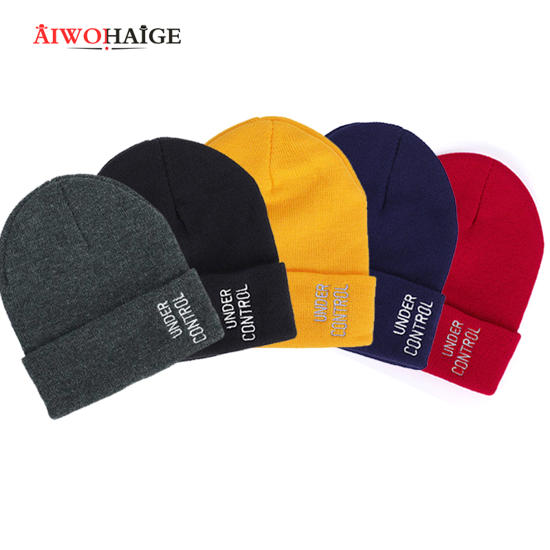 AIWOHAIGE 2019 New Winter Cold Hats Women Letter Embroidery Knitted Beanies Men Casual Letter Knitting Skullies Couple Hats