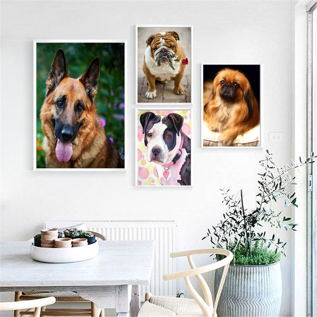 HUACAN Diamond Painting Full Square Dog 5D Diy Diamond Embroidery Picture Mosaic Rhinestone Handmade Gift Home