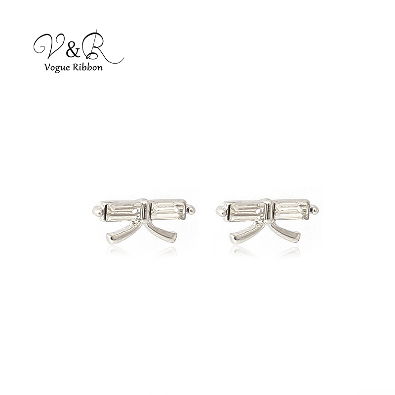 3 pairs a set, cute stud earring imitation rhodium plated, 1pair CZ stone stud, 1 pair pave stone butterfly   stud earring, 1 pa (2)