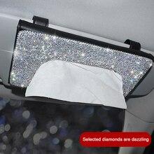 Car-Tissue-Holder Interior-Decoration Sun-Visor Crystal Shining