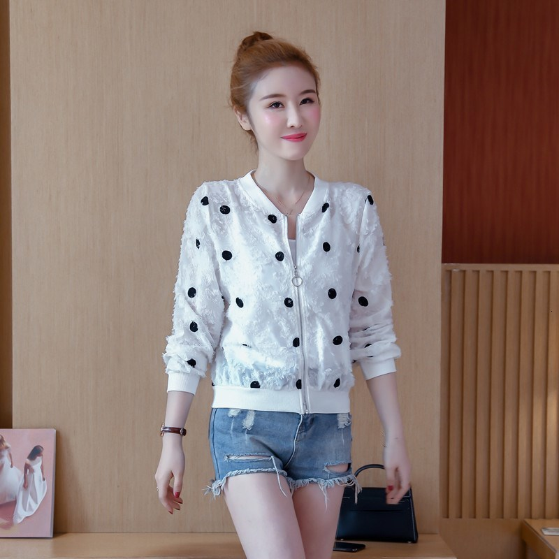 2019 Korean Slim Baseball Short Jacket Summer Casual White Thin Women's Bomber Jacket Polka Dot Dot Sunscreen Cardigan Jacket 24