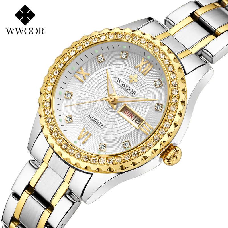 Montre femme 2020 imitações de marcas de luxo wwoor diamante senhoras vestido relógios ouro aço completo quartzo pulseira relógio para mulher