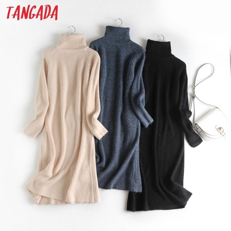 Tangada 2020 herbst winter mode frauen rollkragen pullover kleid lange hülse lose weibliche feste midi stricken kleid vestidos 6D28