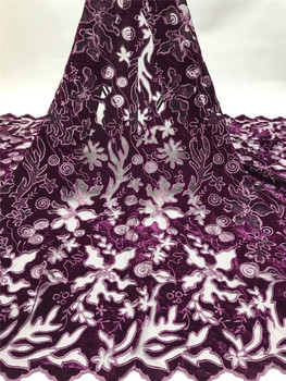 New Design 5yards H-1.20032001 African Lace Fabric High Quality  French Fabric  Nigerian velvet Lace Fabrics For Dress
