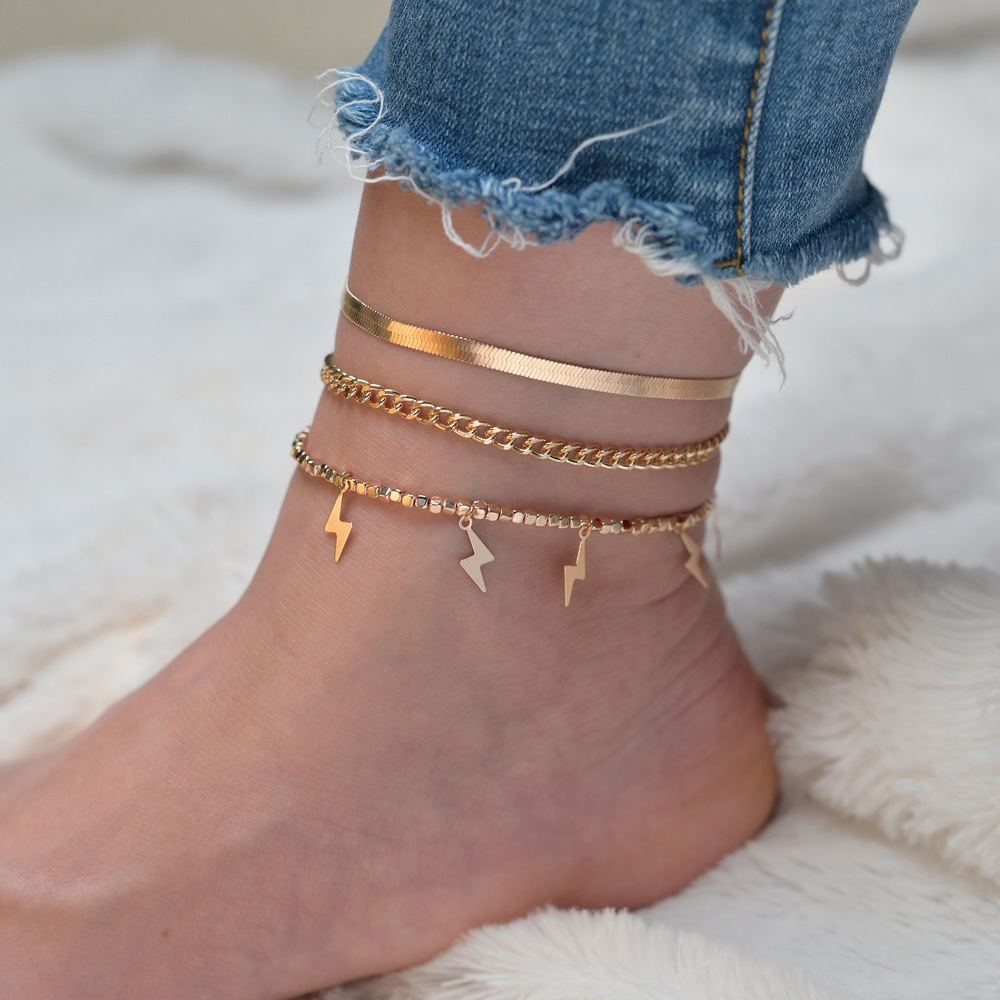 Modyle Bohemian Star Lightning Anklet set for Women Gold Multilayer Anklets Chain Foot Bracelet on Leg Beach Jewelry