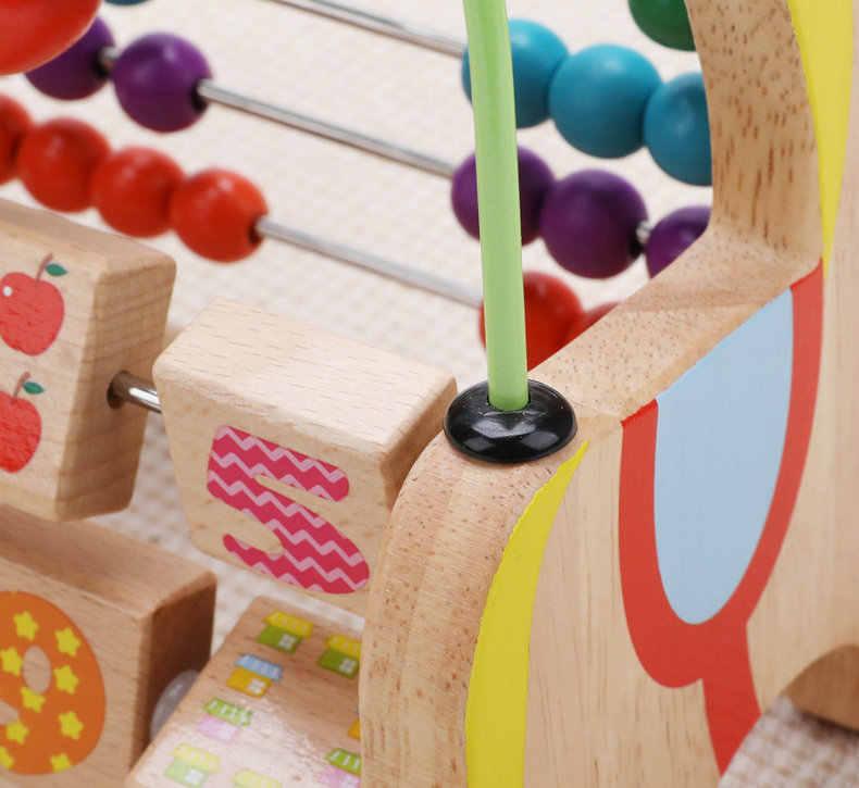 Di Legno del fumetto Cavallo di Calcolo Telaio Precoce Formazione giocattoli Educativi Cavallo di Troia Branello Rotondo di Calcolo di un pezzo Del Bambino Blocchi di Regalo