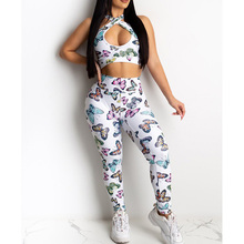 2020 Butterfly Print Two Piece Sets Women Hollow out Halter Sporty Top & Pant Set