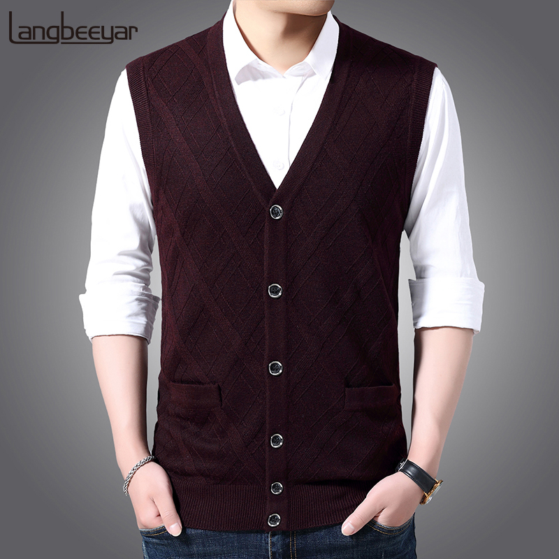 6% Wool Fashion Sleeveless Sweater For Mens Cardigan V Neck Slim Fit Jumpers Knitwear Warm Autumn Vest Casual Clothing Male