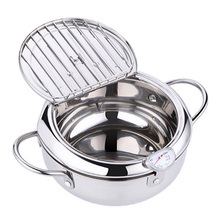 20/24cm Tempura Fryer with Thermometer Lid Non-stick Stainle