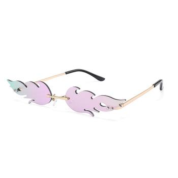 Luxury Fashion Fire Flame Sunglasses Women  Rimless Wave Sun Glasses Metal Shades For Vintage Women Mirror Eyewear UV400 3