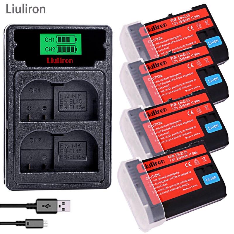 Bateria EN EL15 EN-EL15A ENEL15 EN-EL15 batterie pour Nikon D500 D600, D610 D750 D7000 D7100 D7200 D800 D800E D810 D810A & 1 v1