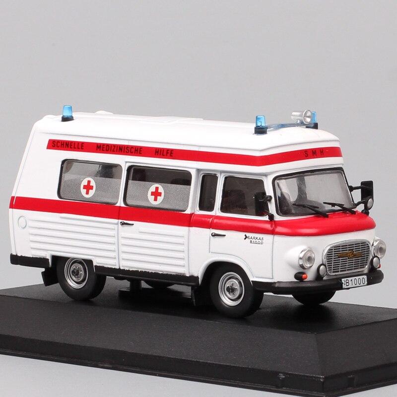 1:43 Atlas Old VEB Barkas B1000 1965 SMH3 1965 Ambulance Minibus Van Vintage Germany Medical Diecast Model Car Scale Vehicle Toy
