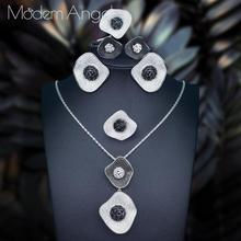 ModemAngel Luxury Lotus Leaf 4Pc NECKLACE Sets Nigerian Dubai Jewelry Sets For Women Cubic Zircon Wedding Bridal Jewelry Sets