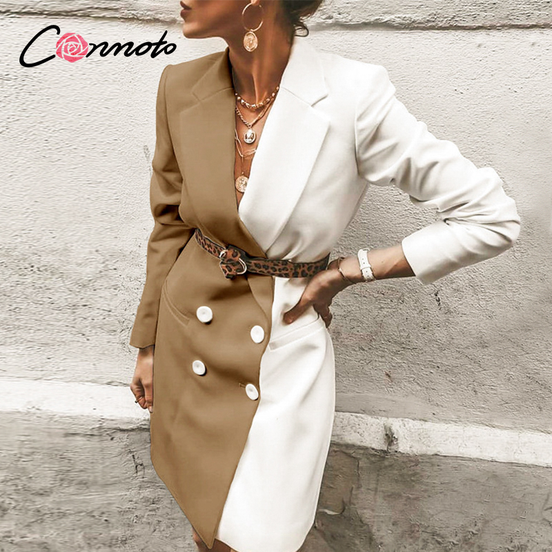 Conmoto Button Sexy Ladies OL Plus Size Dress Elegant Club Dresses Women Patchwork High Fashion Blazer Dress Vestidos