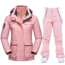 Ski Suit Women Winter Down liner Ski Jackets Pants Warm Waterproof Women
