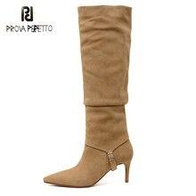 Stiletto elástico fino botas femininas dois wear mid-tube outono inverno nova moda de salto alto apontou toe longo-alta botas cavaleiro