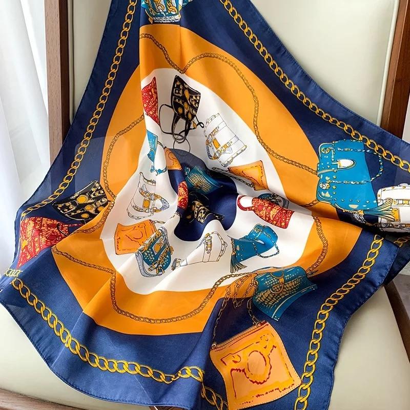 Модный, Шелковый, сатиновый женский шарф на шею для волос маленькие шали Печатный платок сумка средства ухода за кожей шеи шарфы 70 см с квадратным носком шарфы для женщин|Женские шарфы| | АлиЭкспресс